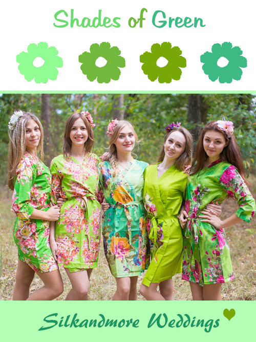 Assorted Greens | SilkandMore Robes
