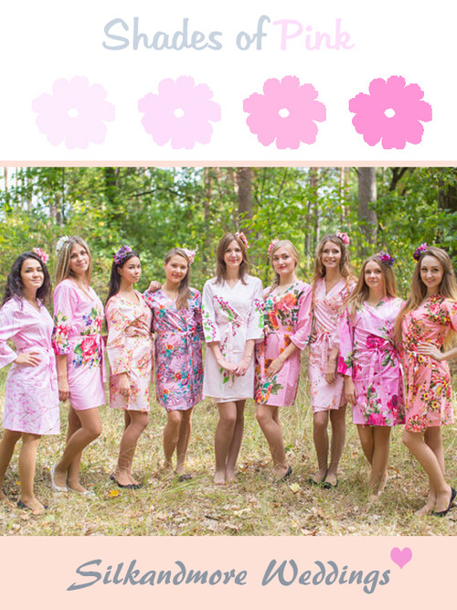 Assorted Pink Mismatched Patterns | SilkandMore Robes