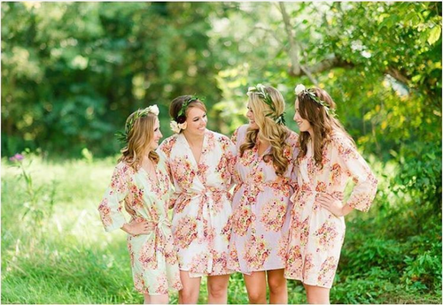 Mismatched Floral Posy Bridesmaids Robes in soft tones