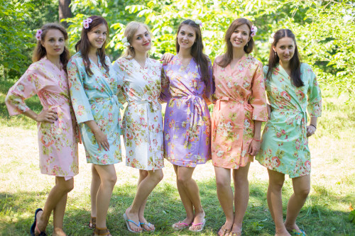 Mismatched Flower Rain Robes in soft tones