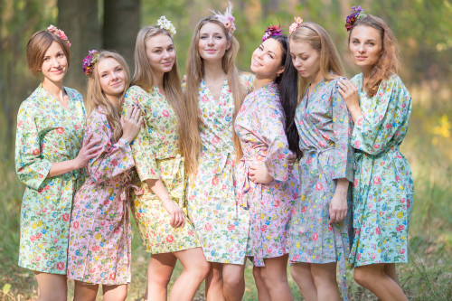 Mismatched Happy Flowers Robes in soft tones