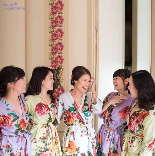 Bridesmaids floral robes, set of 5 robes