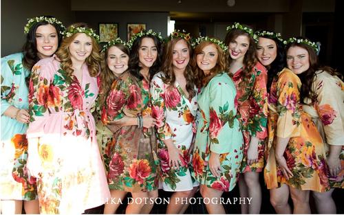 Mismatched Large Floral Blossom4 Robes in soft tones