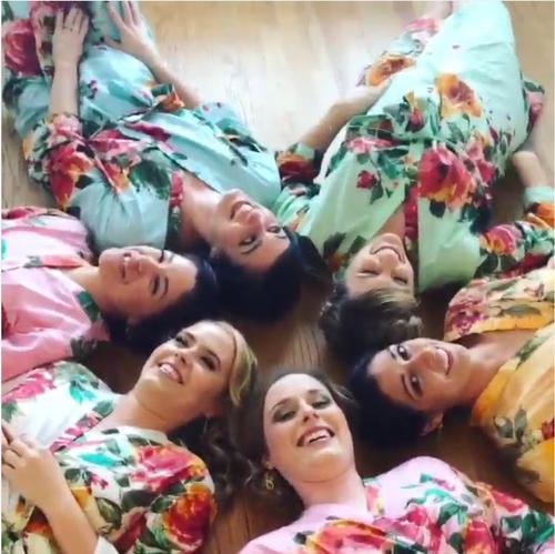 Mismatched Large Floral Blossom5 Robes in soft tones