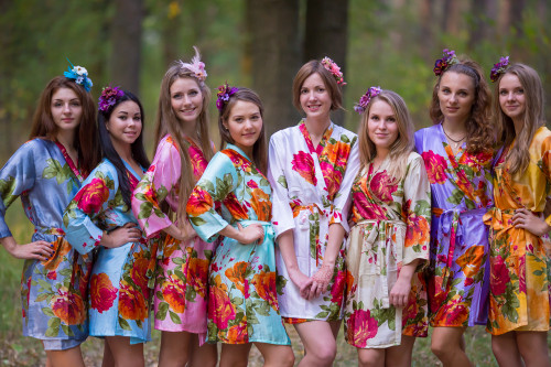 Mismatched Silk Large Floral Blossom Robes in soft tones