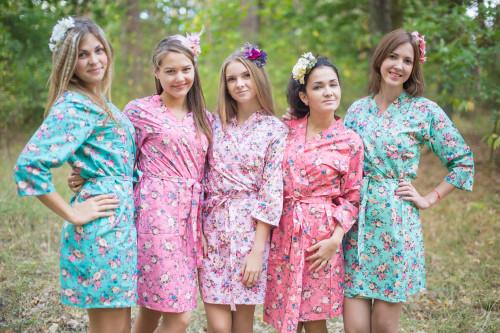 Mismatched Vintage Chic Floral1 Robes in soft tones