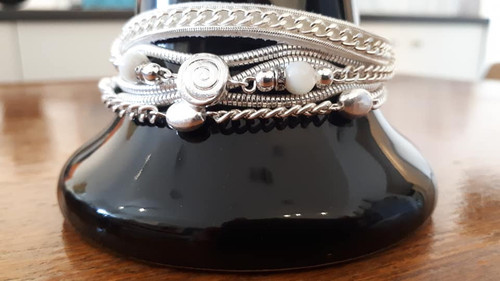 Bracelet, Leather & Chain with Magnetic Clasp