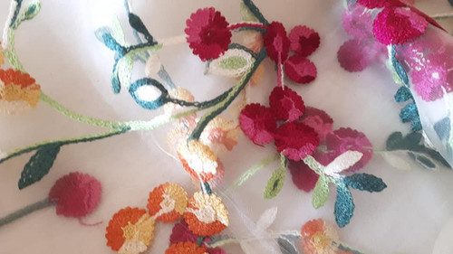 Scarf, Silk, Embroidered