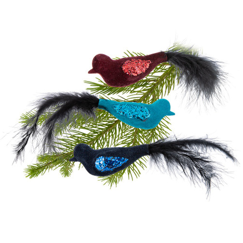 Abbott ® Jewel Tones Bird Clips with feather tails