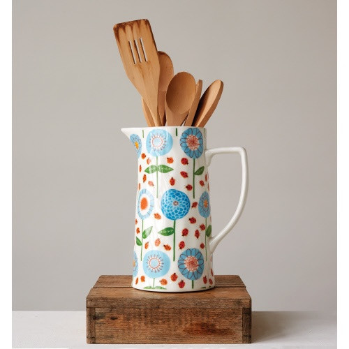 Creative Co-op®  Stoneware Floral Pitcher
