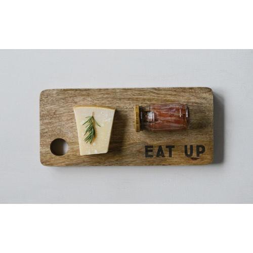 "Creative Co-op®  Mango Wood Cutting Board, ""Eat Up"""