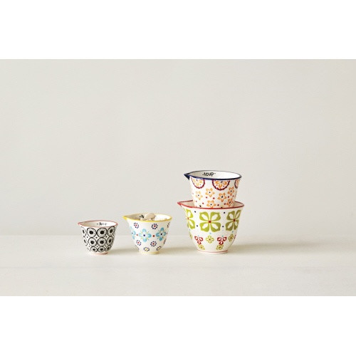 Creative Co-op®  Hand Stamped Stoneware Measuring Cups, Floral Pattern