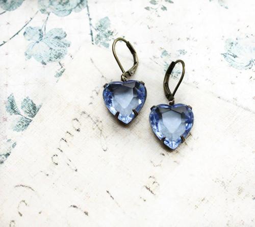 A Pocket of Posies® Denim Blue Heart Earrings