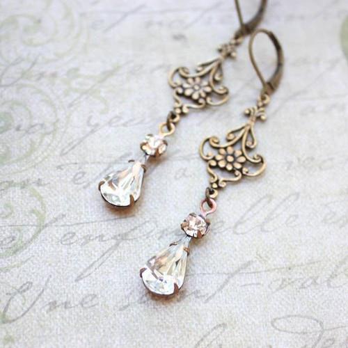 A Pocket of Posies® Long Filigree Crystal Earrings