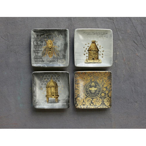 Creative Co-op®  Square Stoneware Bee Plates, various