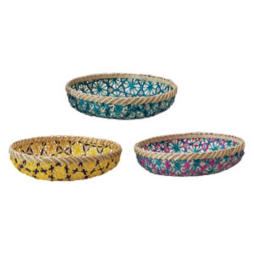 Creative Co-op ® Decorative Handwoven Bamboo Trays