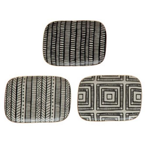 Creative Co-op ® Stoneware & Gold Rectangular Plates, 3 styles
