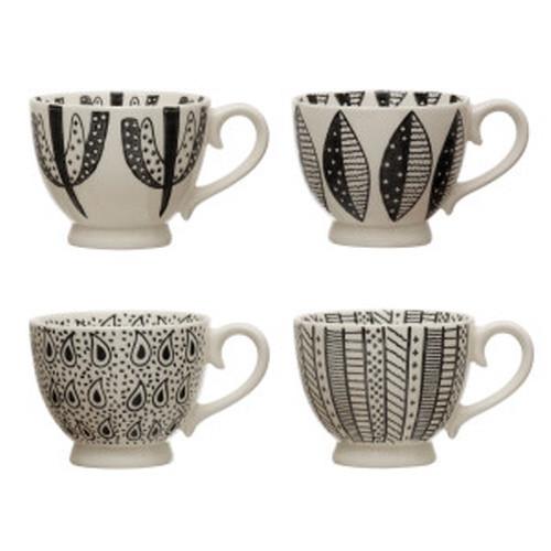 Creative Co-op® Black & White Stoneware Mug, 4 styles