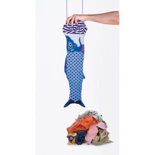 Fish Sock Laundry Bag, ''Koinobori Blue''