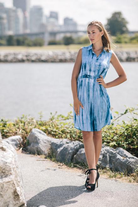 Papillon® Tie-Dye Button Front A-Line Dress