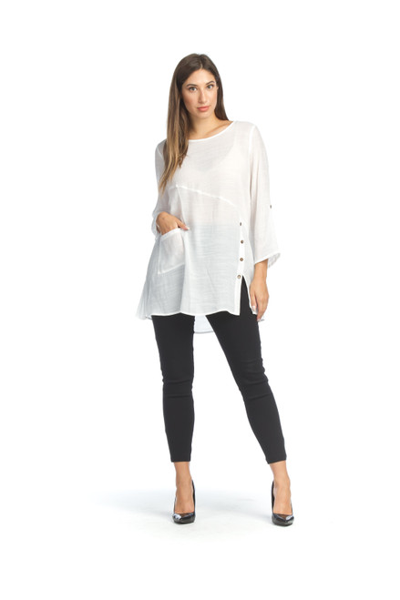 Papillon® Crinkle Tunic with Button Detail, PT-07040