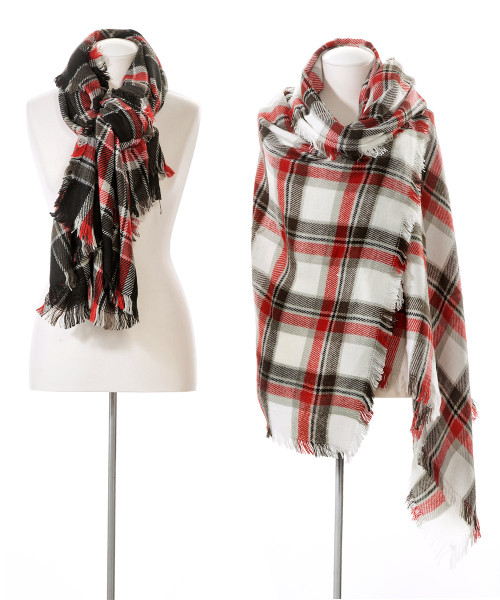 Checkered Blanket Scarf, Black & Red