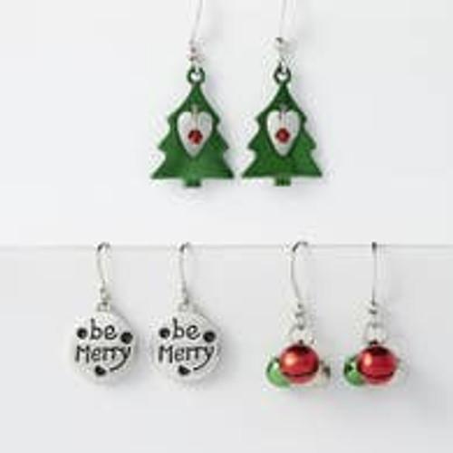 Christmas Dangle Earrings, set of 3