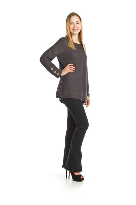 Papillion® Waffle Knit Sweater with button detail ST-06243