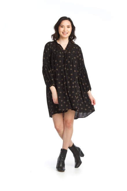 Papillion® Crepe Smock Dress with Lace Detail