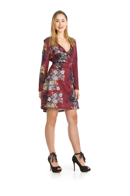 Papillion® Floral Wrap Look Sweater Dress
