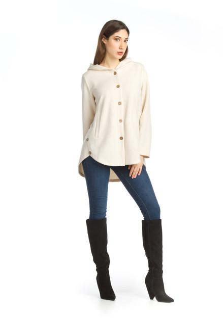 Papillion® Cream Hooded Button-up Jacket