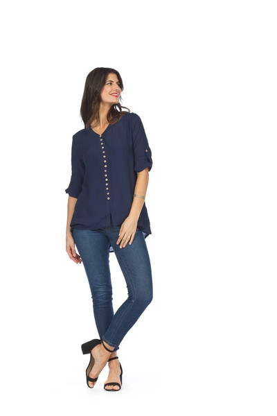 Papillion Button Down Blouse with Tab Sleeve