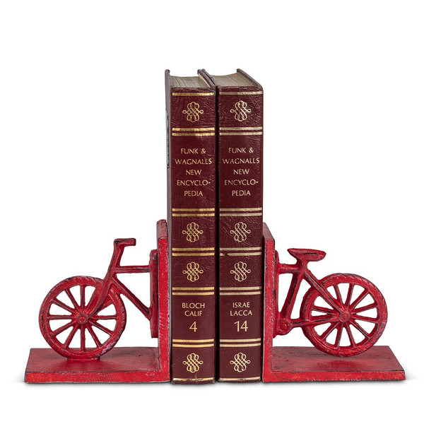 Red Iron Bicycle Bookends