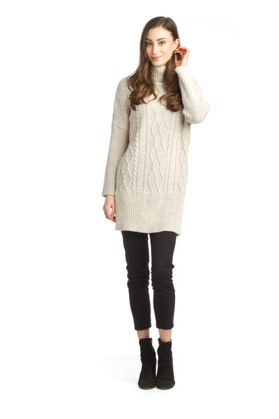 Cream Cable Knit Sweater Dress with Ribbing