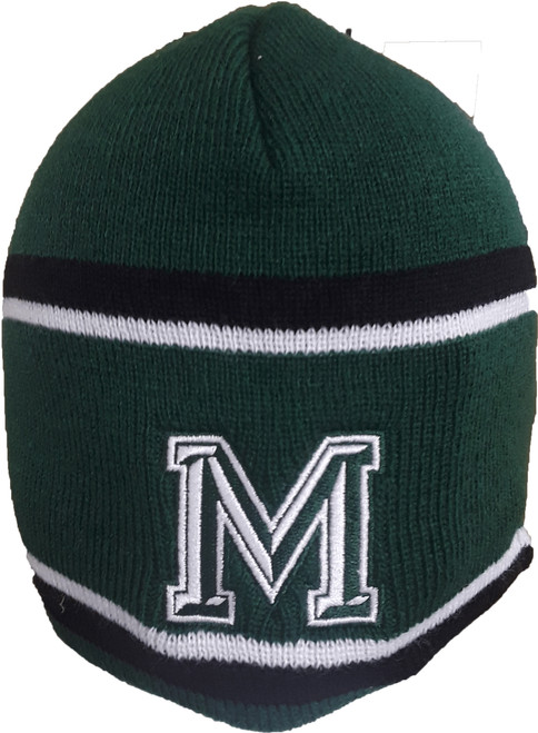 "Mansfield ""M""  Green Holloway Beanie No Pom"
