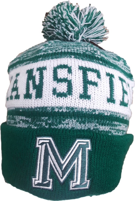 "Mansfield ""M"" Pukka Winter Hat w/ Pom Green"
