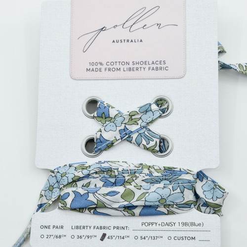 Pollen Australia Liberty Shoelaces Large, Poppy & Daisy 19B blue