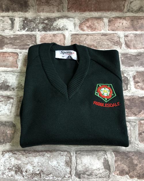 Ribblesdale Green V Neck Knitted Jumper