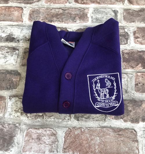 Thorneyholme Girls Purple Cardigan
