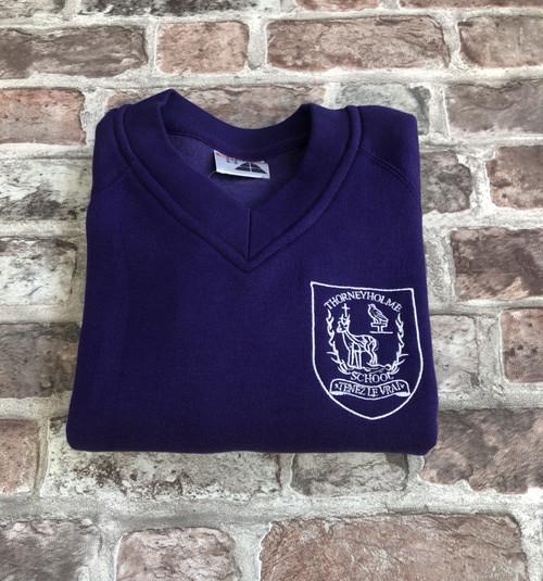 Thorneyholme Boys Purple V-Neck Sweatshirt