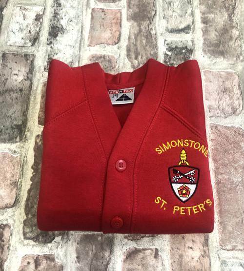Simonstone St Peter`s Girls Red Cardigan