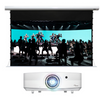 """Projector systems - Premium with Les Mills Program Showing System includes: 5000 lumen laser projector Drop ceiling projector mount Specialized light-rejecting electric screen 135"""" diagonal HDMI extender over Cat Audio extractor Connecting cables"""