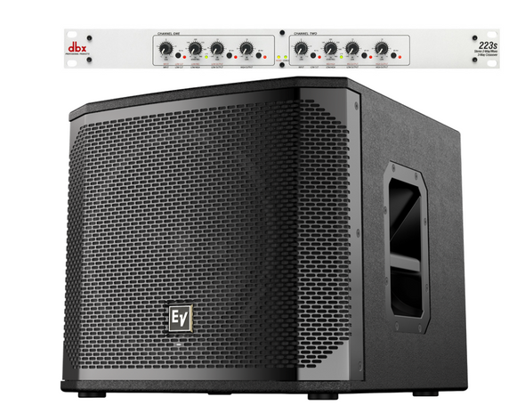 Optional Subwoofer Package: E-V ELX200SP Powered Subwoofer (1)  + DBX 223S Crossover