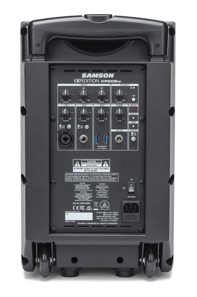 Samson Expedition XP208w 200-Watt Portable Powered PA with XPD2 Wireless Handheld Microphone, Rechargeable Batteries and Bluetooth® - Rear View