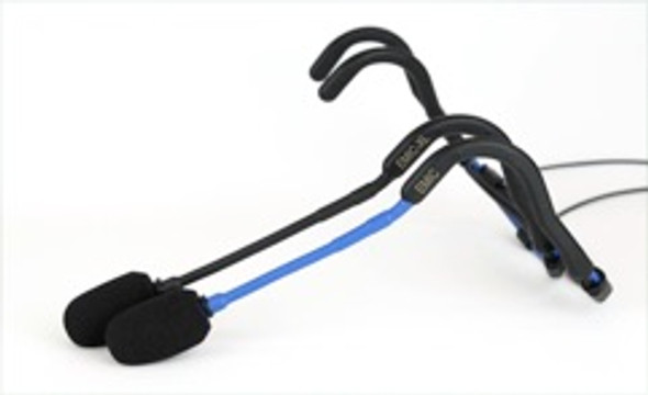 "E-mic XL Fitness Headset Microphone - Boom arm 1/2 "" Longer for larger heads . Black Boom only - Blue boom E-mic shown for boom length comparison only"