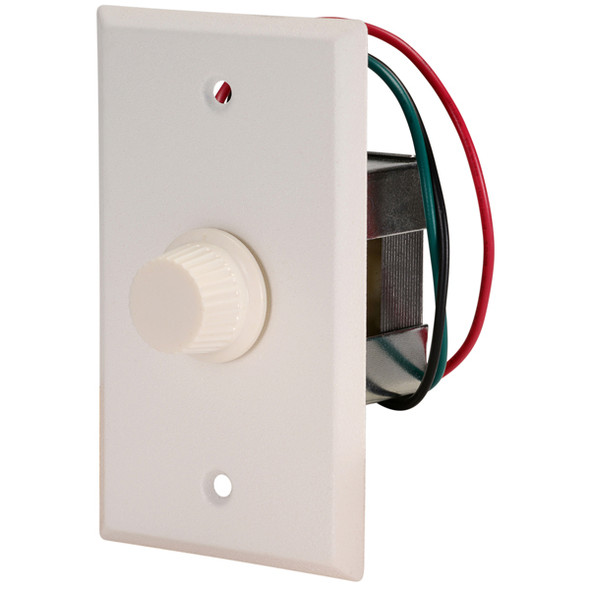 QUAM QC10W Single Gang, single-gang, 20W, 10-step, continuous rotary, audio level attenuator with an OFF position. White powder coat faceplate with white knob.