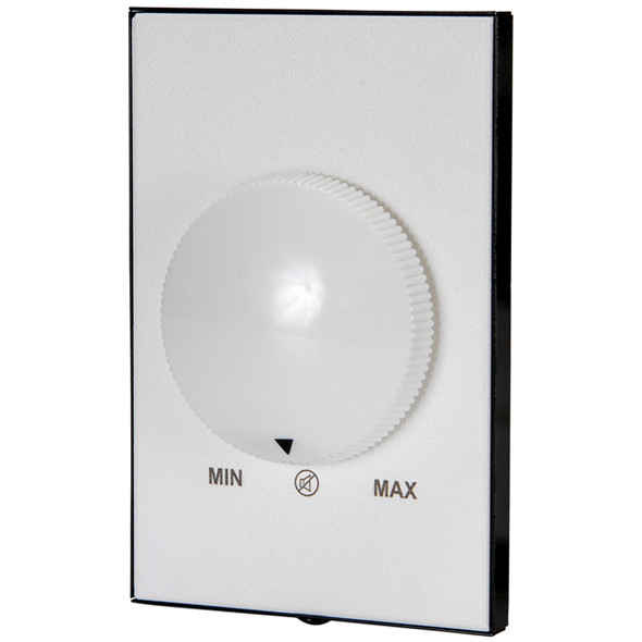 QUAM QC101K Single-gang, 20W, 10-step, continuous rotary, audio level attenuator with an OFF position. White powder coat faceplate with white knob