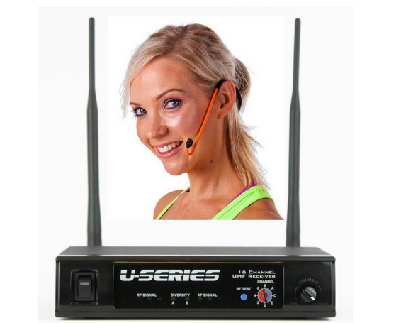 Fitness Audio MT-U8-II UHF Combo Wireless Mic System with CYCLEMIC Fitness Headset with Receiver - Orange only