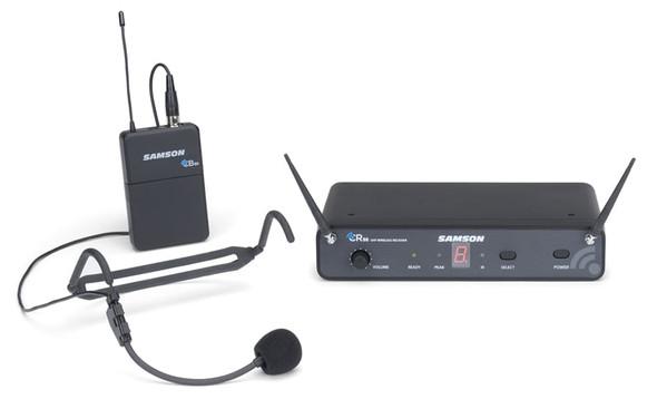 Samson Concert 88 Headset - 16-Channel True Diversity UHF Wireless System with Samson HS5 Budget Headset Mic