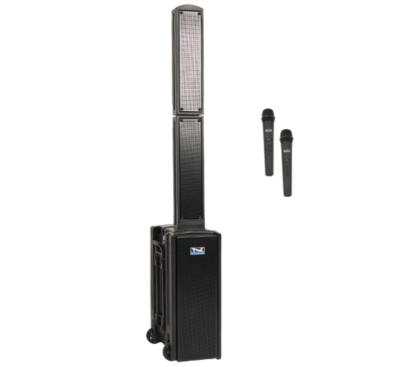 BEA-DUAL - Anchor BEACON 2 Portable Sound System with 2 Wireless Systems - Handheld Mics and/or Headband and Lapel Mics with Beltpack Transmitters - shown with 2 Handheld Wireless and/or Headset + Beltpacks